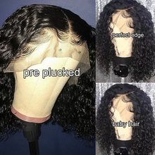 Bob Wig Human-Hair-Wigs Short Curly 150-Density Lace-Front Black-Women 4X4 for Jc India