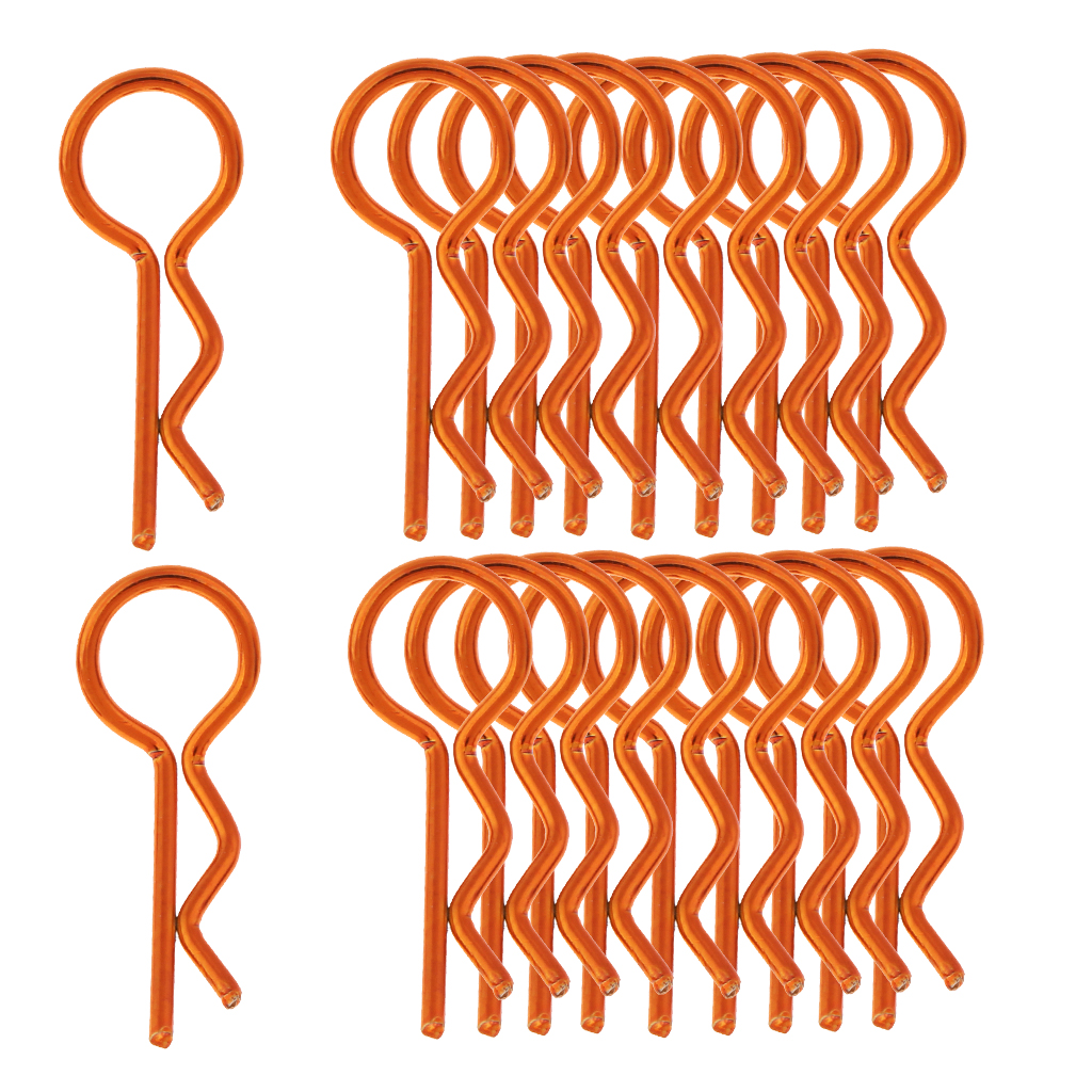 20pcs Stainless Steel Body Clips R Pin Shell For 1/10 1/12 1/8 RC Car - Orange