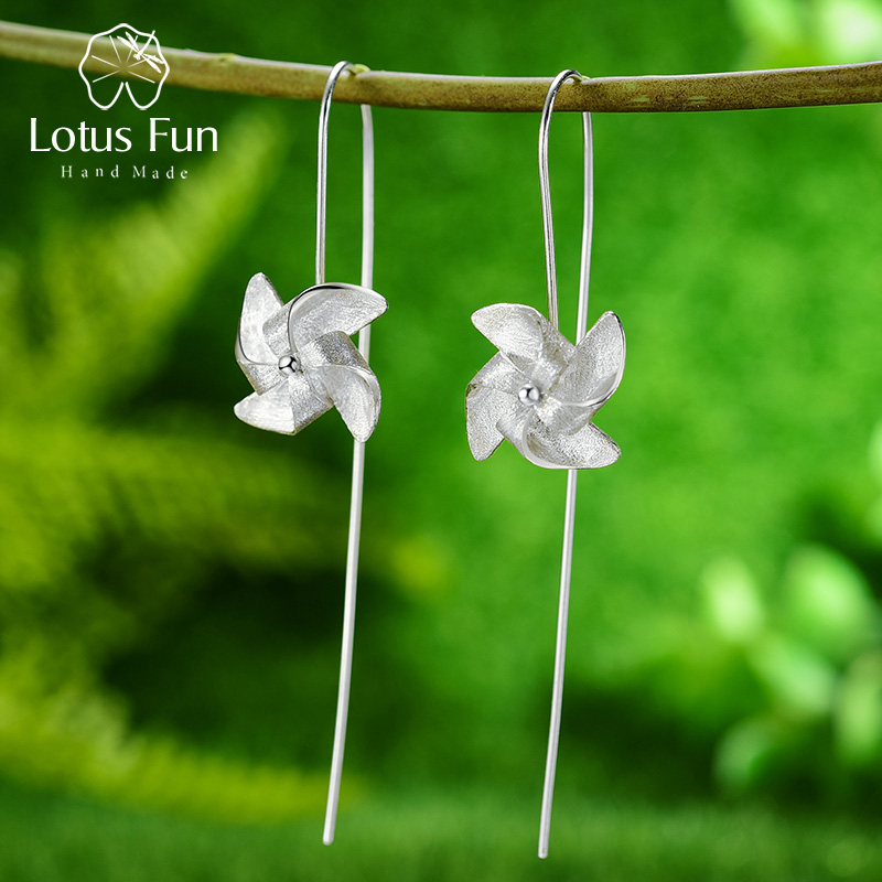 Lotus Fun Creative Rotable Windmill Dangle Earrings Real 925 Sterling Silver Handmade Designer Fine Jewelry Earrings For Women