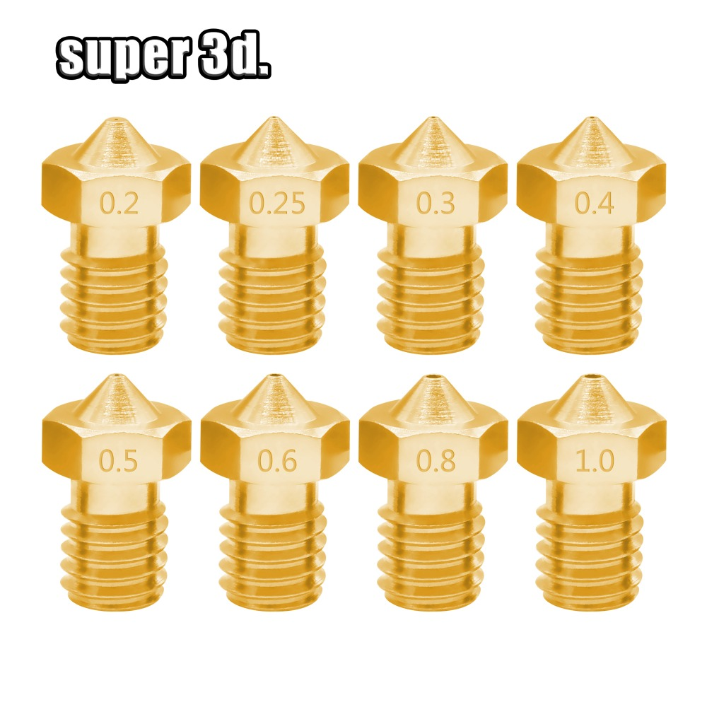 3D Printer Accessories V5 V6 Copper Nozzle M6 Thread 0.2 0.25 0.3 0.4 0.5 0.6 0.8 1.0mm For1.75mm 3.0mm Filamnet Brass Nozzles