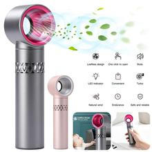 2000mAh Aluminum Alloy Portable Bladeless Mini Fan Hand Held Cooler USB Cable No Leaf Air Cooling Fan With 3 Fan Speed Level speed adjustable tower fan mute bladeless fan portable floor stand ventilation fan cooling fan with timer air conditioner 35w