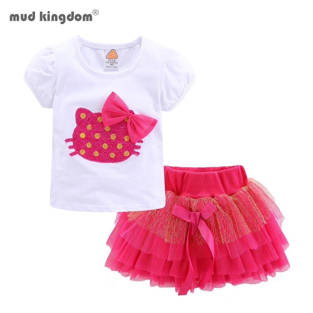 Mudkingdom Girls Outfits Cartoon Cat Short Sleeve Tops Princess Skirt Clothes Set Summer 1