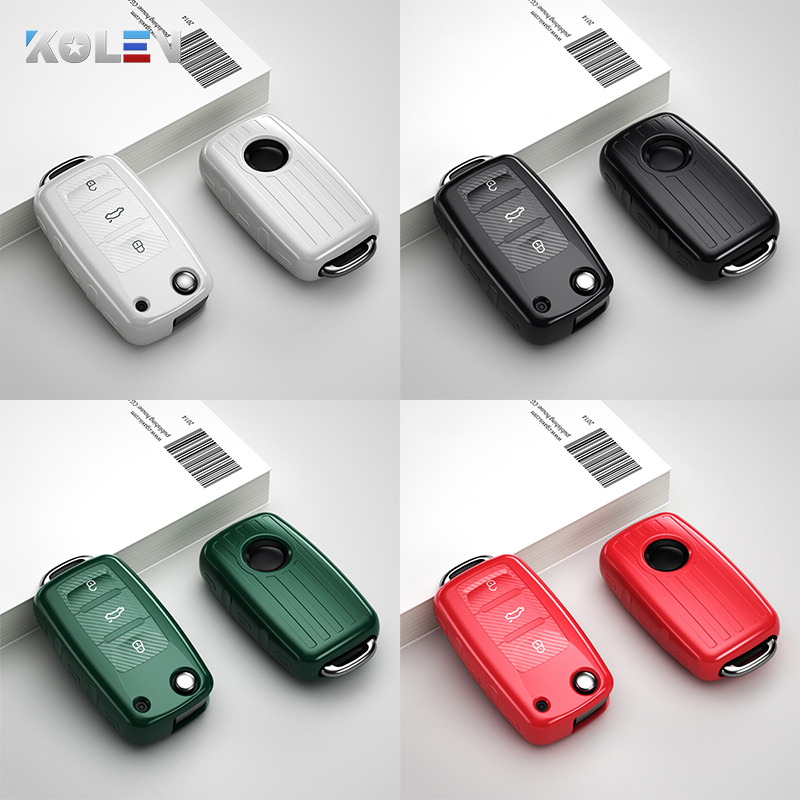 Soft TPU Car Key Case Cover Holder Shell For Volkswagen VW Bora Golf Jetta Polo Tiguan Passat Beetle For Skoda Octavia A5 Fabia