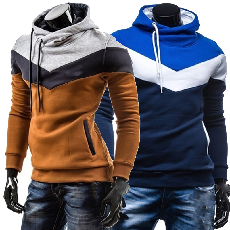 2019 Mens Hoodies Contrast Color Slim Thickened Fleece Autumn and Winter