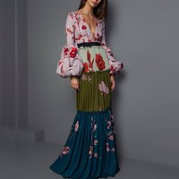 Floral Print Sexy Party Dress Women Pleated Long Dresses Long Sleeve Elegant V Neck Maxi Boho Pink Fashion High Quality Autumn