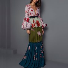 Floral Print Sexy Party Dress Women Pleated Long Dresses Sleeve Elegant V Neck Maxi Boho Pink Fashion High Quality Autumn