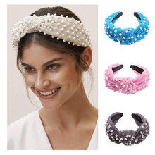 Lalynnlys New Fashion Velvet Pearl Hair Bands Korean Knotted Wide Turban Accessories Headband Female Girls Gifts Hot F05691