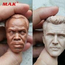 1/6 escala pvc macho cabeça esculpir sem pintura branco mel colúcille gerard gibson/danny glover modelo para 12 polegadas figura de ação