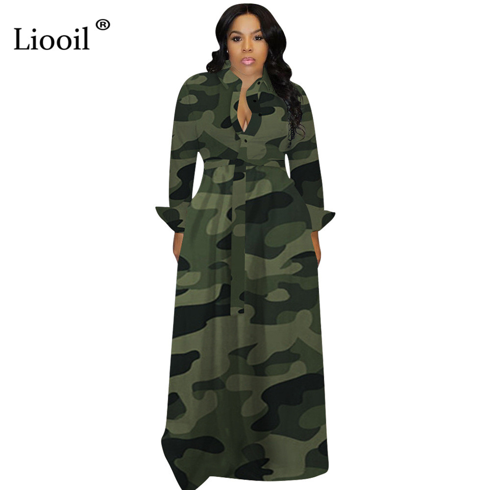 Liooil Plus Size Camouflage Sexy Loose Maxi Dress Women Fall 2019 Long Sleeve V Neck Button Up Print Big Swing Party Clubwear