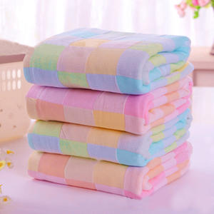 Towel for Kids Bibs Gauze Square Plaid Daily-Use Useful Cotton 28--28cm