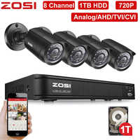 ZOSI 8 Channel 720P 1280TVL IR CMOS Motion Sensor Black Nightvision Video CCTV Camera Security System Surveillance DVR Kit 1 HDD