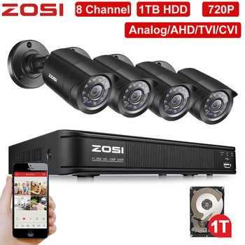 ZOSI 8 Channel 720P 1280TVL IR CMOS Motion Sensor Black Nightvision Video CCTV Camera Security System Surveillance DVR Kit 1 HDD - DISCOUNT ITEM  48% OFF All Category