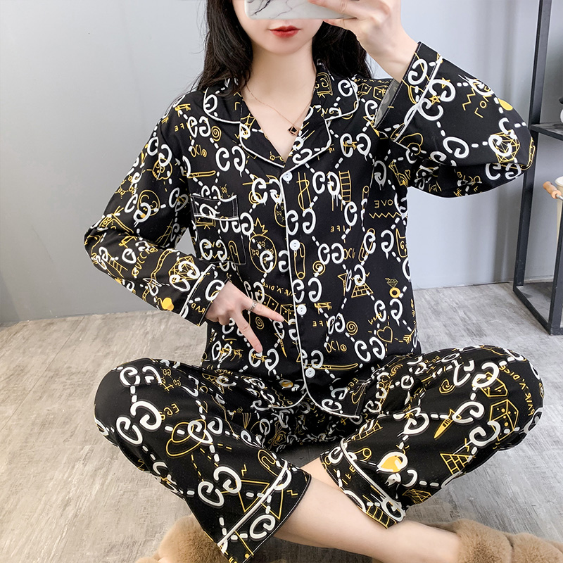 Silk Pajama Women's Sleepwears Fall pajamas Sexy Sleepwear Women Print Sleepshirts Female Sleepshirt Cartoon with Long sleeves|Pajama Sets| - AliExpress