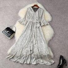 2021 new spring summer Irregular Polka Dot Long party dress Women luxury on vacation V-neck Dress ladies free shipping dresses
