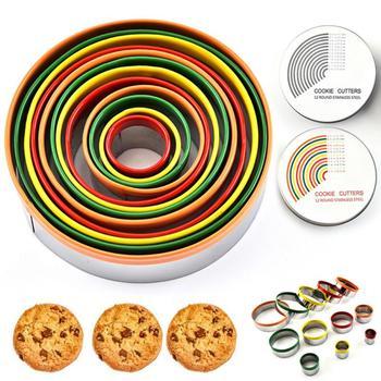 Zestaw 12 sztuk ze stali nierdzewnej Cookie ciasto oblodzenie formy Cutter formy do pieczenia pierścienia tanie i dobre opinie CN (pochodzenie) Siekacze do ciasta Ekologiczne Na stanie 9-12 STAINLESS STEEL