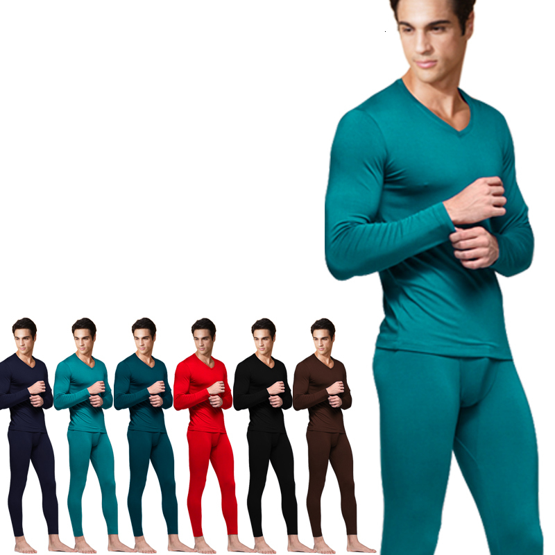 Free shipping Men's V-neck thermal underwear male long johns basic shirt bamboo charcoal fiber 6XL