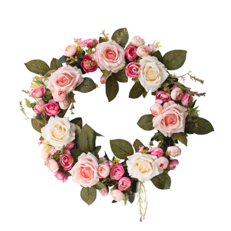 Wreath Wedding Fake Floral Rattan Garland Front Door Artificial Rose Flower  With Green Leaves For Window Wall Home Decoration