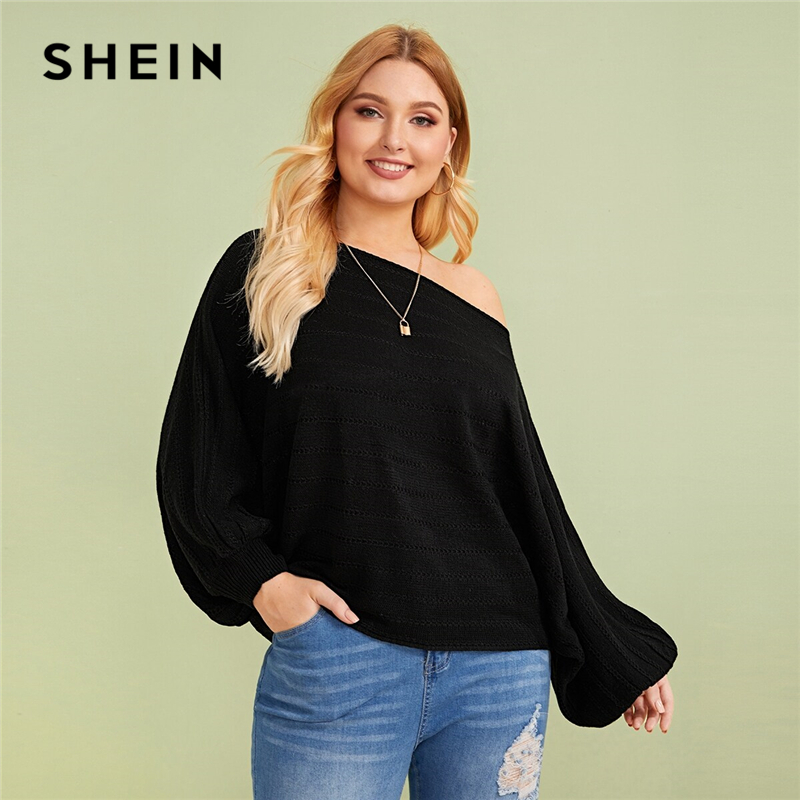 SHEIN Plus Size Black Asymmetrical Neck Drop Shoulder Oversized Sweater Pullover Women Autumn Batwing Sleeve Casual Sweaters