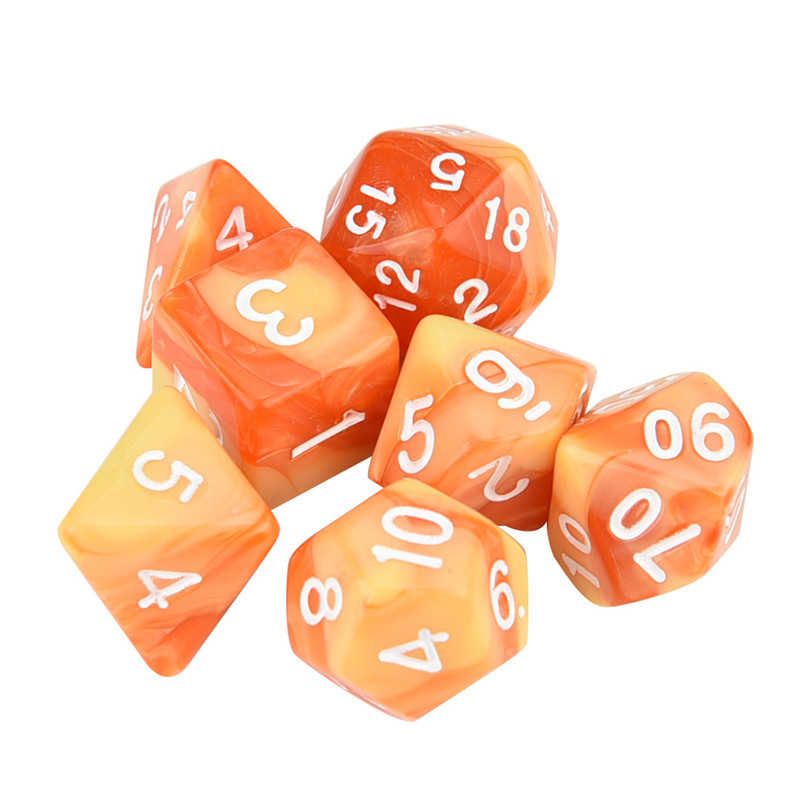 7Pcs dice set trgp game polyhedron D4-D20 multi-faceted new dice tower acrylic dados rpg two-color multi-faced dnd dice 30A19 (7)