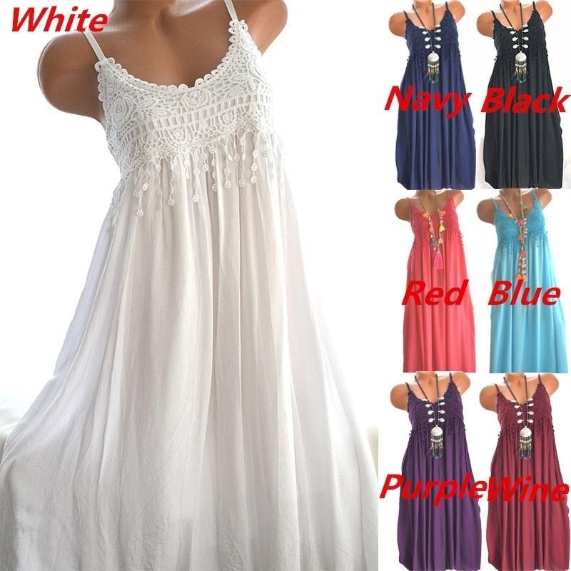 casual fino moda rendas estilingue vestido longo