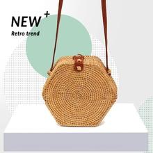 hexagon rattan bag Womens bag Handbag shoulder Straw bags Crossbody bag wallet Beach bags Lady Bohemian style Shoulder Bags