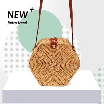 Hexagon rattan bag Women's bag Handbag shoulder Straw bags Crossbody bag wallet Beach bags Lady Bohemian style Shoulder Bags фото
