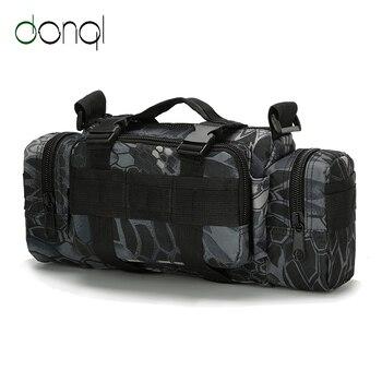 цена на DONQL Fishing Bag Large Capacity Reel Bag Backpack Outdoor Fishing Tackle Bag Lure Trays Boxes High Quality Shoulder Waist Bag