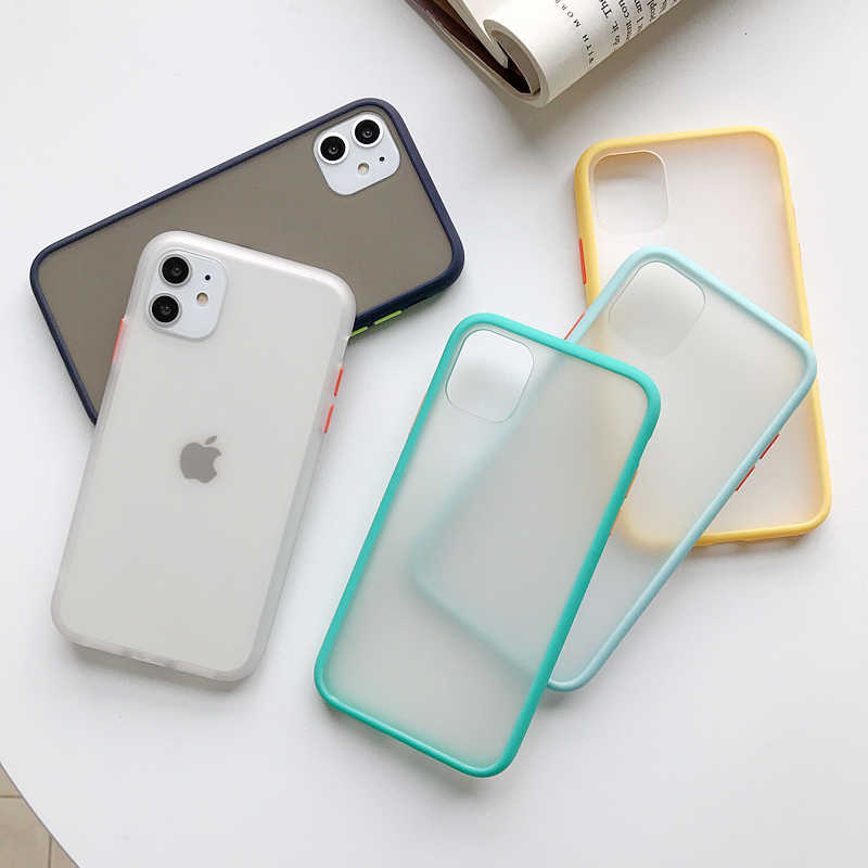 Transparante Shockproof Phone Case Voor iPhone 11 Pro X XR XS Max 6 6s 7 8 Plus Case Bumper siliconen Matte Clear Back Cover