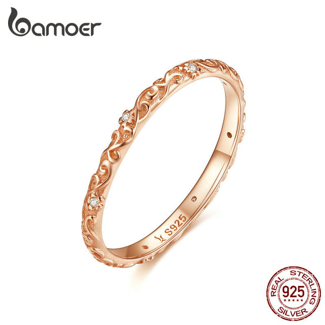 BAMOER Engraved Pattern Ring Real 925 Sterling Silver Black Tibetan Silver Small Finger Rings Unisex Fine Jewelry SCR513 3