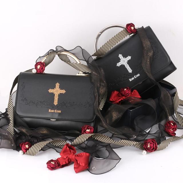 Купить готическая винтажная сумка в стиле милой лолиты с вышивкой крест картинки цена