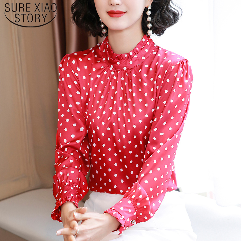 Women Blouses Casual Stand Collar Autumn Fashion Women Shirts Blouses Long Sleeve Polka Dot Women Tops 2021 Fashion Blusas 10589 3