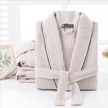 Frauen 100% Baumwolle Sommer Lange Feste Braut Robe Volle Hülse Waffel Schlaf Lounge Robes Kimono Bad Robe Frauen Nacht Tragen nachtwäsche