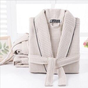 Image 1 - Kobiety 100% bawełna lato długi solidna panna młoda szata pełna rękaw wafel snu salon szaty szlafrok kimono kobiety koszula nocna bielizna nocna