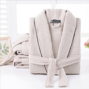 Image 1 - Vrouwen 100% Katoen Zomer Lange Solid Bruid Gewaad Volledige Mouw Wafel Slaap Lounge Gewaden Kimono Badjas Vrouwen Nachtkledij nachtkleding