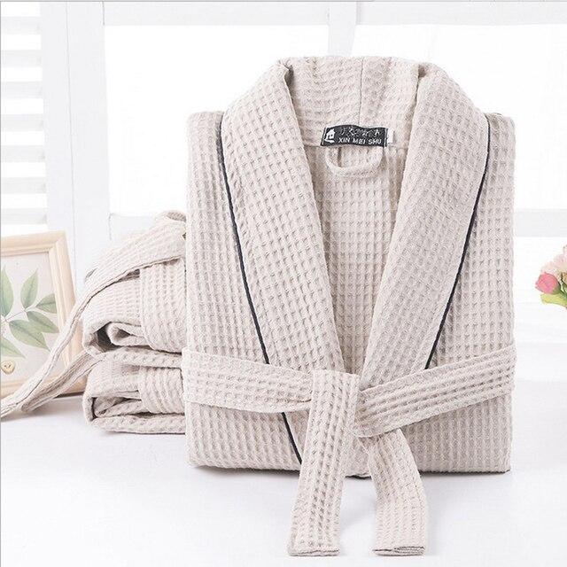 Vrouwen 100% Katoen Zomer Lange Solid Bruid Gewaad Volledige Mouw Wafel Slaap Lounge Gewaden Kimono Badjas Vrouwen Nachtkledij nachtkleding