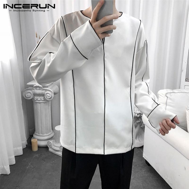 Мужская Повседневная рубашка с длинным рукавом, свободная дышащая Блузка с V-образным вырезом, модель 5XL в Корейском стиле, 2021