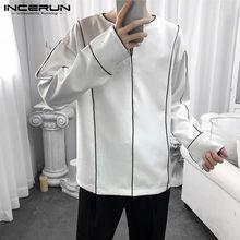 2021 camisa masculina casual coreano high street v pescoço manga longa moda marca blusa cor-bloco solto respirável 5xl incerun