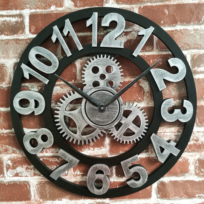 Handmade Large Size 3D Vintage Antique Decoration Luxury Art Large Vintage Wooden Gear Large Wall Clock On The Wall Gift WJ10235