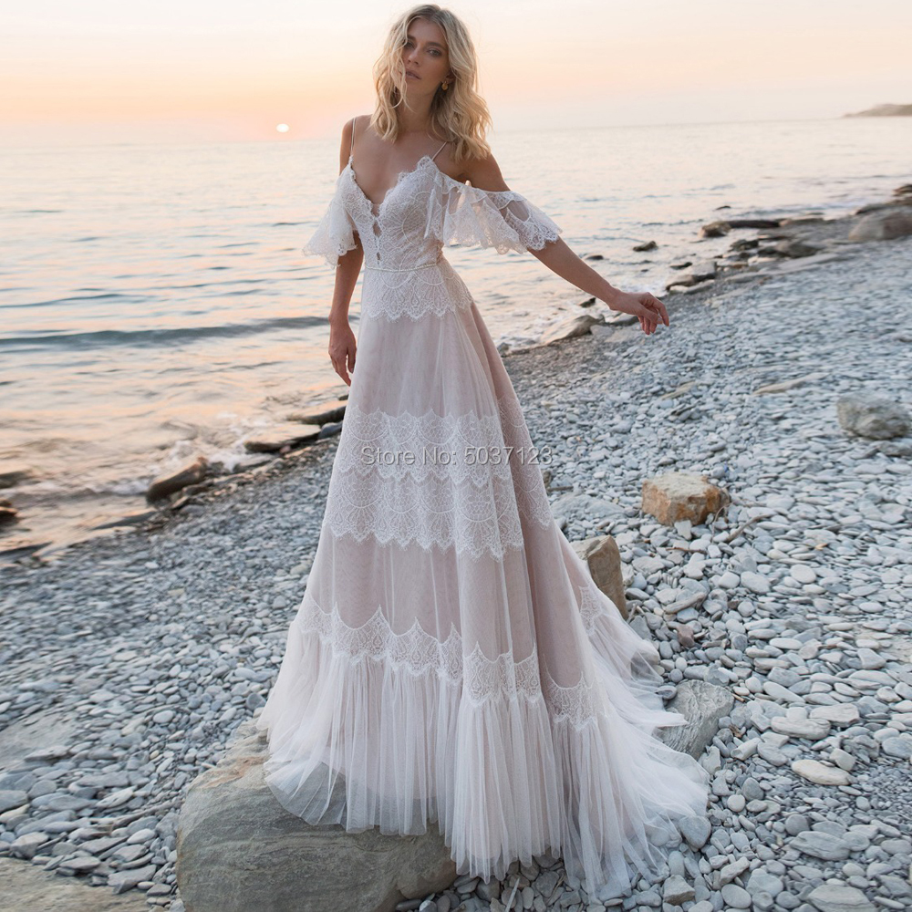 Tempting Boho Nude Champagne Wedding Dresses Chic Sleeves V Neck Off Shoulder Straps Ruffles Lace A Line Backless Bridal Gowns