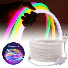 360 עגול ניאון Led אור רצועת 220V 120LED 2835 צינור גמיש חבל אורות חג עמיד למים עיצוב הבית 1m 10m 20m 50m 100m