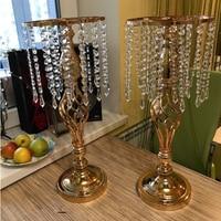 Crystal Candle Holders Metal Candlestick Flower Vase Table Centerpiece Event Flower Rack Road Lead Wedding Decoration
