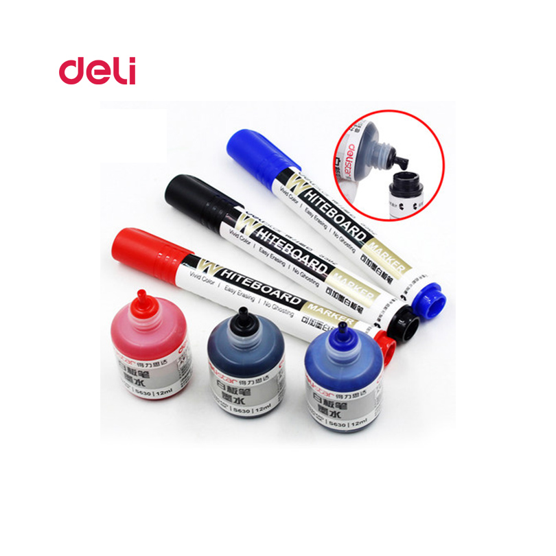 Deli Erasable Whiteboard Marker Pen 1 Pcs Blackboard + 1 Ink Bottle Set Office Markers Dry Erase Blue Black Red Office Supplies