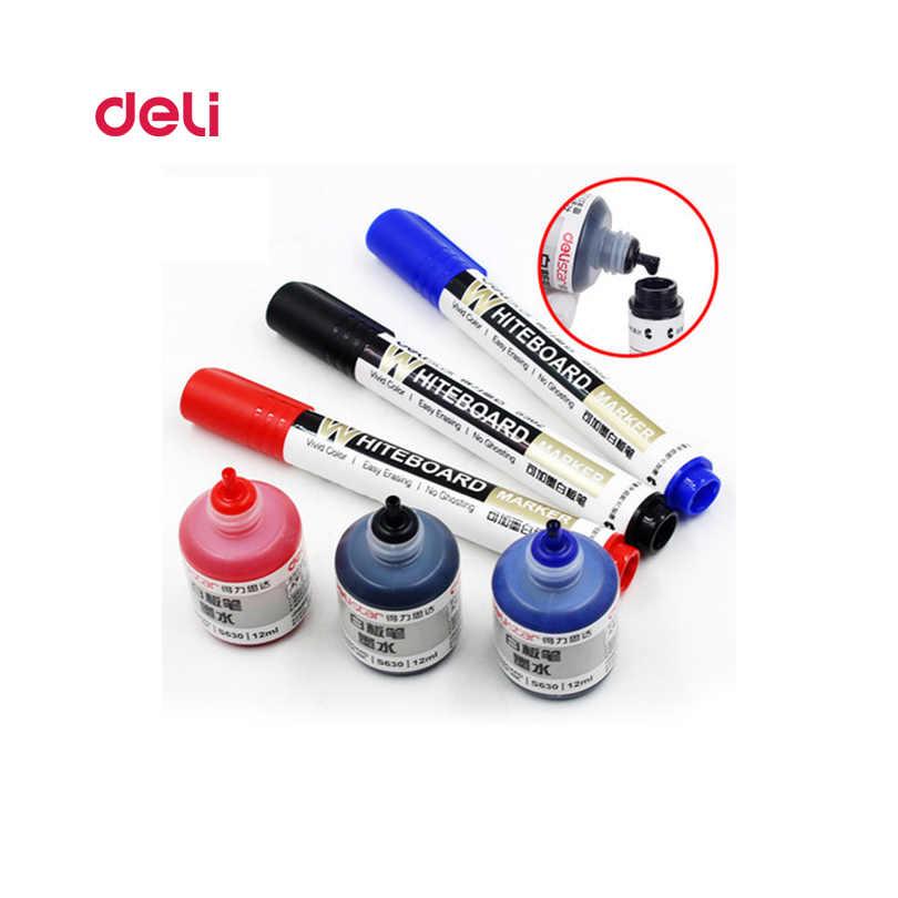 Deli Löschbaren Whiteboard Marker Stift 1 Pcs Tafel + 1 Tinte Flasche Set Büro Marker Trockenen Löschen Blau Schwarz Rot büro Liefert