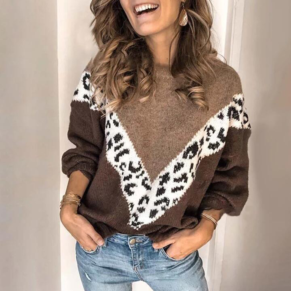 Autumn Winter Patchwork Leopard Sweater Women Pullover Plus Size Womens Sweaters Leopard Print Knitted Oversized Sweater Jumper