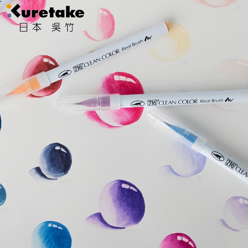 1pc Japan Zig Kuretake RB-6000AT Clean Color Real Brush Watercolour Pens 90 Colours Optional Soft Tip For Painting Lettering