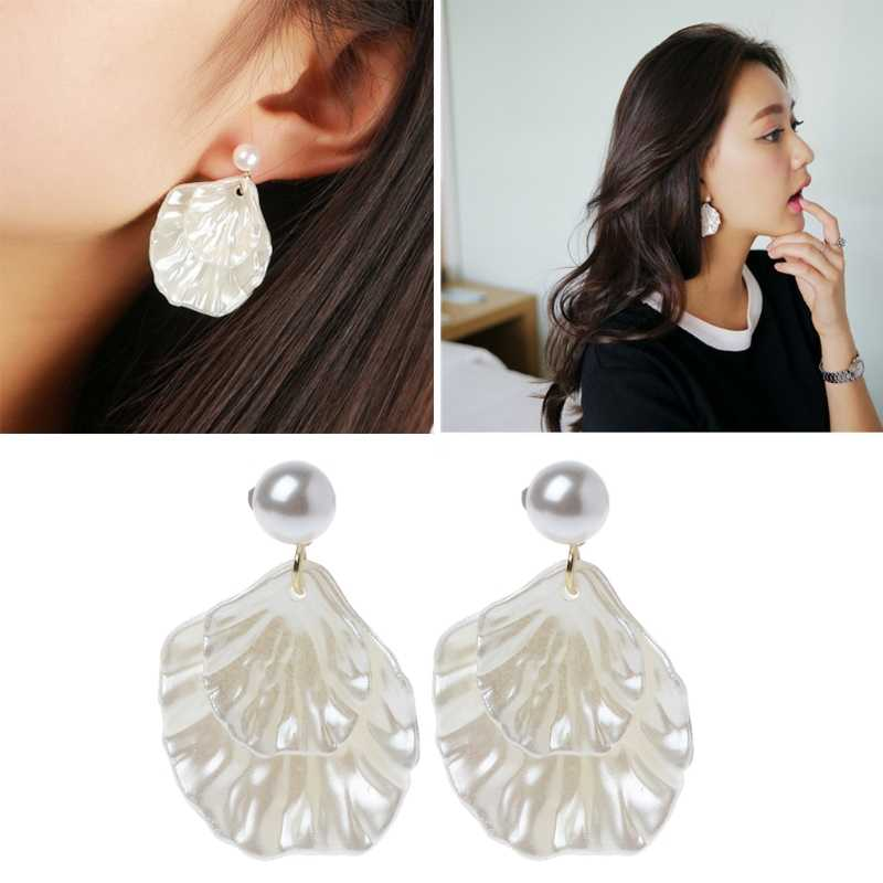 Mother of Pearl Double Carve SHELL Leaf Dangle Hook ต่างหูเครื่องประดับ Silver TONE 634C