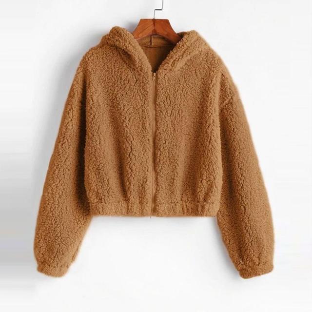 Plush Lambskin Coat Women Winter Fluffy 2019 Fashion Vintage Solid Hooded Zipper Fake Fur Coat Warm Soft Female Overcoat