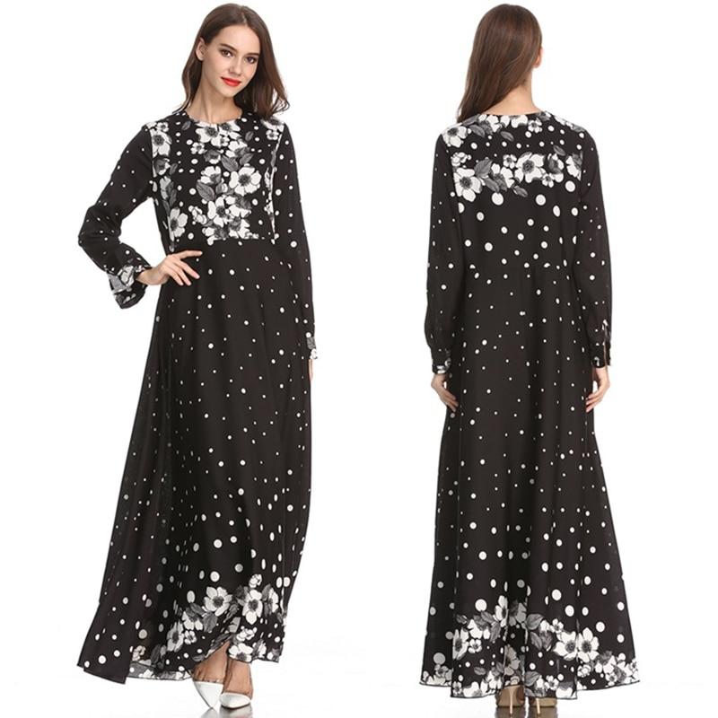 2019 femmes longue caftan dubaï Dot imprimer robe robe musulmane élégante dame arabe vêtements - 5