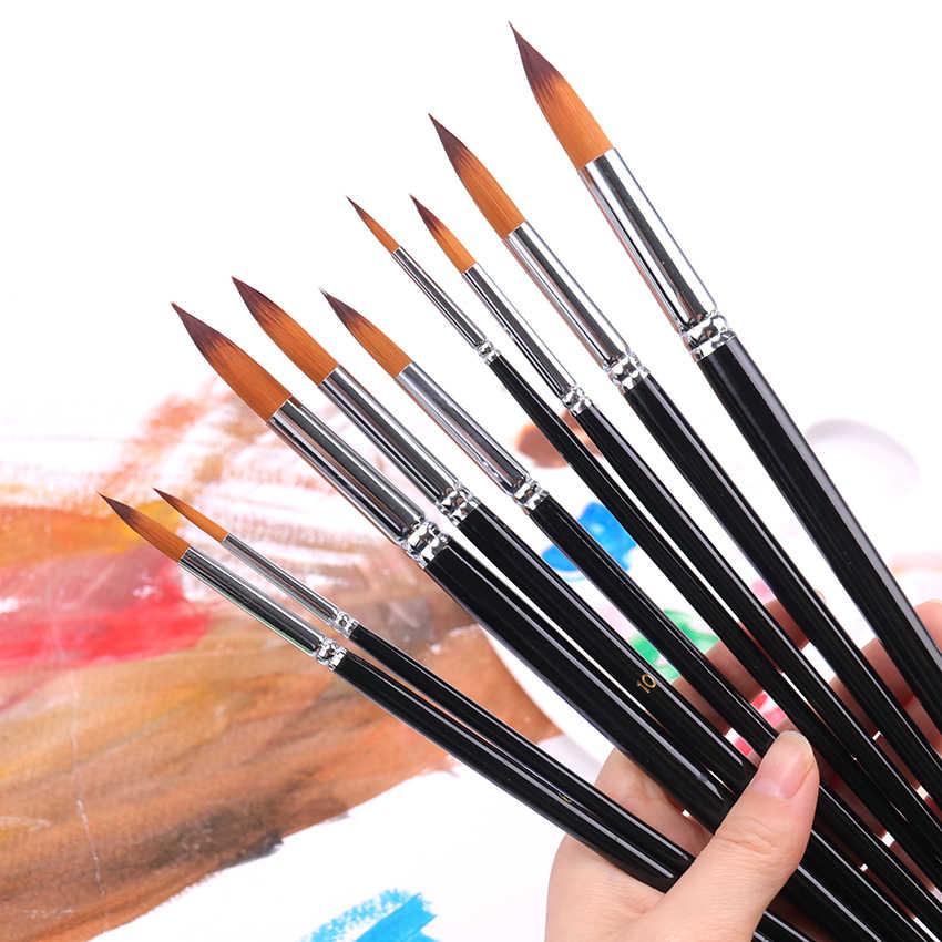 Ujung Runcing Bulat Artis Kuas Cat Set Nilon Rambut Watercolor Acrylic Oil Painting Sikat Menggambar Seni Pemasok 9 Pcs