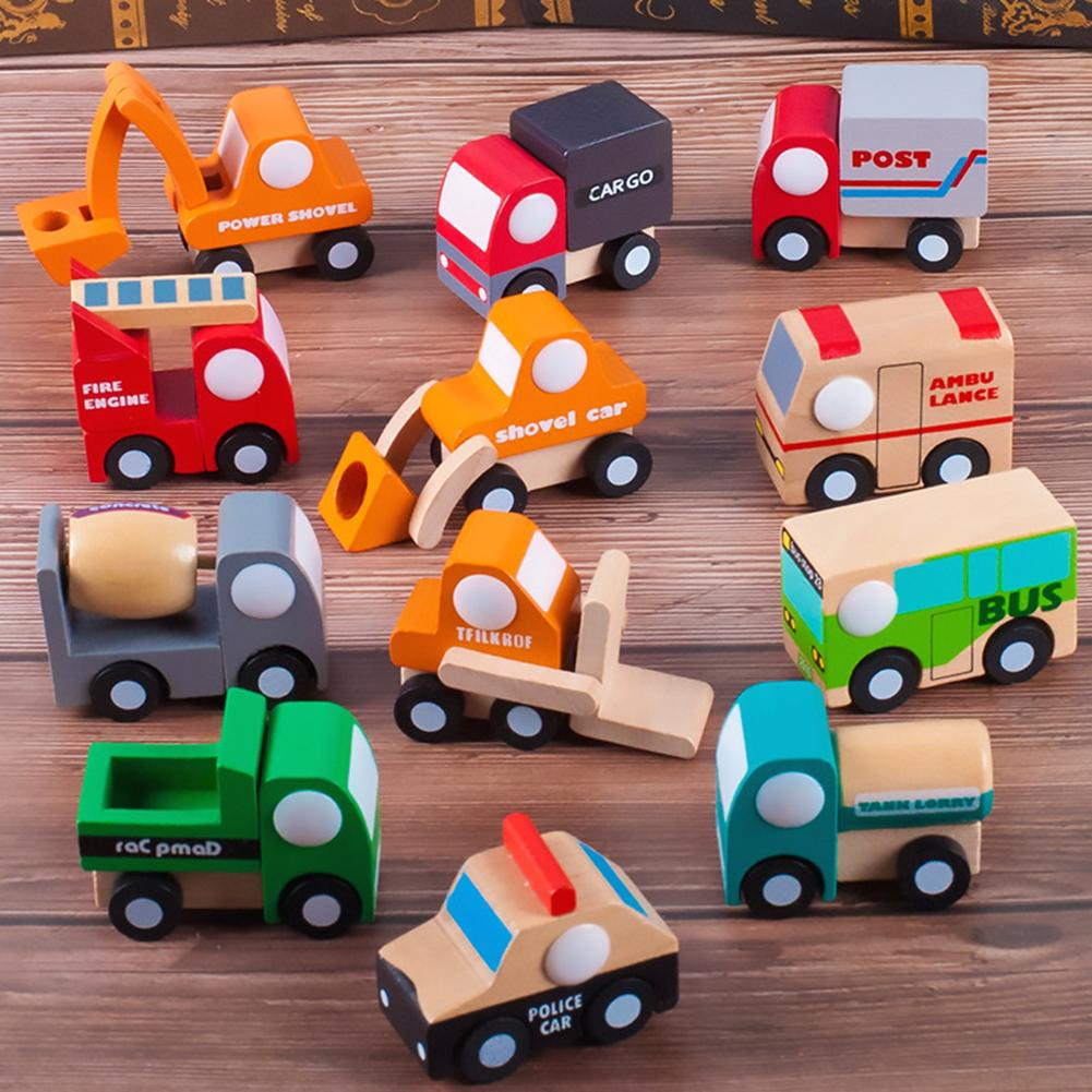 12Pcs/Set Simulation Wooden Car Truck Model Kids Educational Toy Birthday Gift New